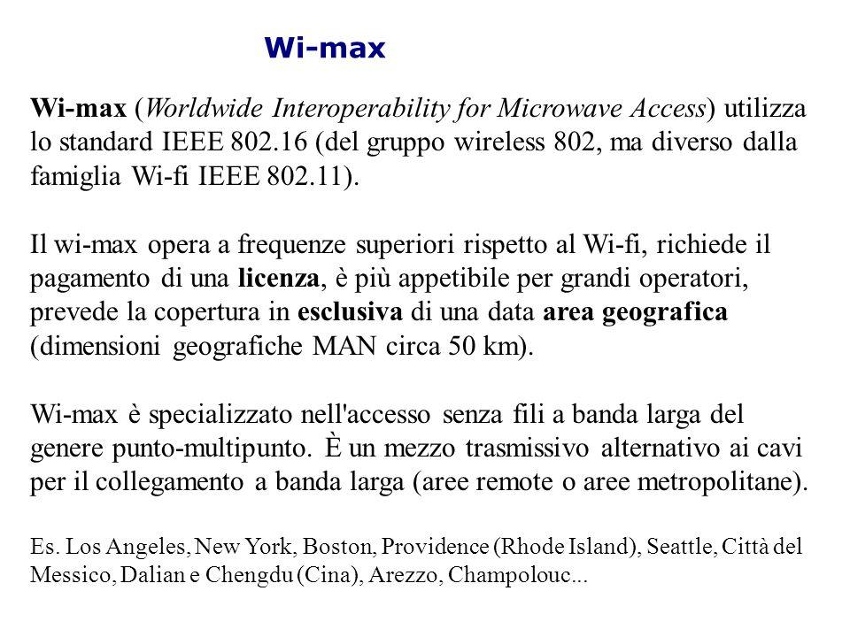 Wi-max Wi-max (Worldwide Interoperability for Microwave Access) utilizza lo standard IEEE 802.16 (del gruppo wireless 802, ma diverso dalla famiglia W