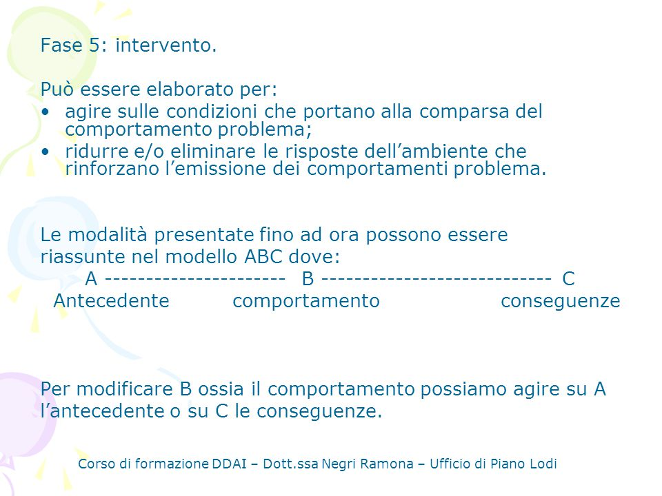 Corso di formazione DDAI – Dott.ssa Negri Ramona – Ufficio di Piano Lodi Fase 5: intervento.