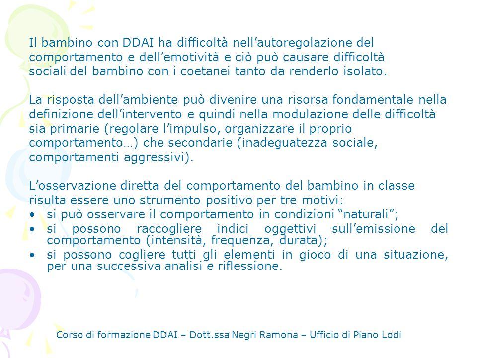 Corso di formazione DDAI – Dott.ssa Negri Ramona – Ufficio di Piano Lodi APPROCCI SULLINSEGNANTE Si tratta dei cambiamenti che linsegnante può apportare per permettere al bambino con DDAI di adattarsi allambiente e alle situazioni.