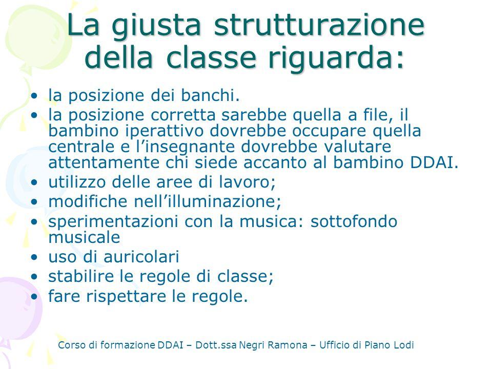 Corso di formazione DDAI – Dott.ssa Negri Ramona – Ufficio di Piano Lodi La giusta strutturazione della classe riguarda: la posizione dei banchi.