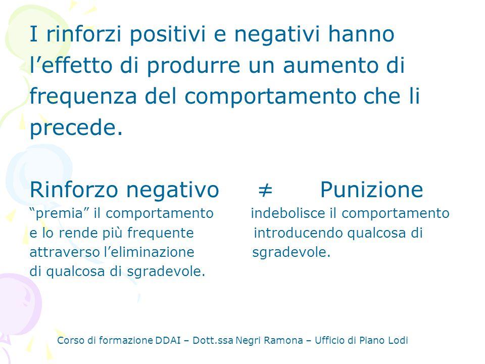 Corso di formazione DDAI – Dott.ssa Negri Ramona – Ufficio di Piano Lodi I rinforzi positivi e negativi hanno leffetto di produrre un aumento di frequenza del comportamento che li precede.