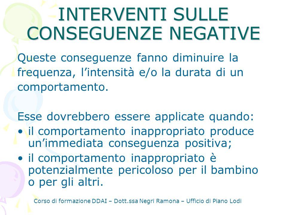 INTERVENTI SULLE CONSEGUENZE NEGATIVE Queste conseguenze fanno diminuire la frequenza, lintensità e/o la durata di un comportamento.
