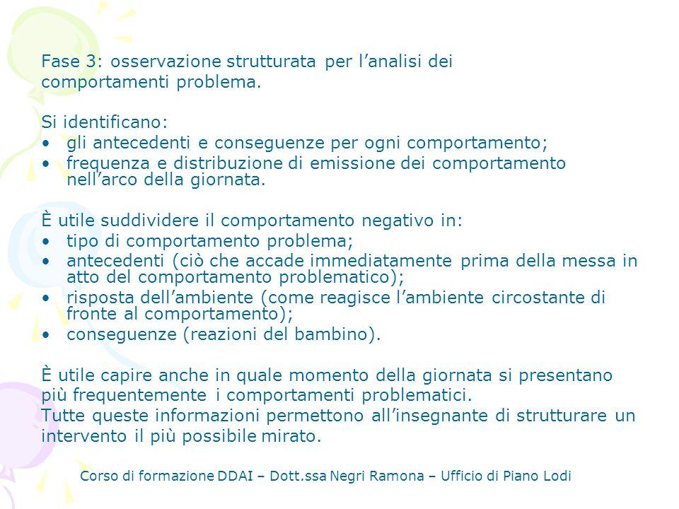 Fase 3: osservazione strutturata per lanalisi dei comportamenti problema.