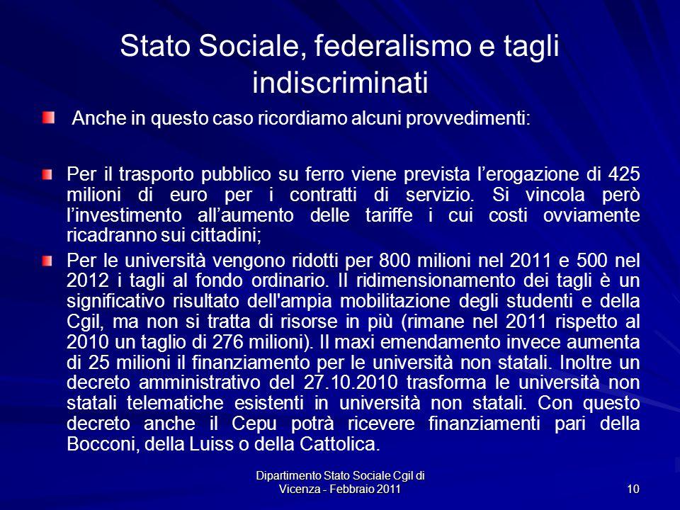 Dipartimento Stato Sociale Cgil di Vicenza - Febbraio 2011 10 Stato Sociale, federalismo e tagli indiscriminati Anche in questo caso ricordiamo alcuni provvedimenti: Per il trasporto pubblico su ferro viene prevista lerogazione di 425 milioni di euro per i contratti di servizio.