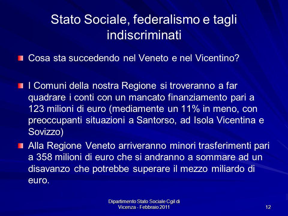Dipartimento Stato Sociale Cgil di Vicenza - Febbraio 2011 12 Stato Sociale, federalismo e tagli indiscriminati Cosa sta succedendo nel Veneto e nel Vicentino.