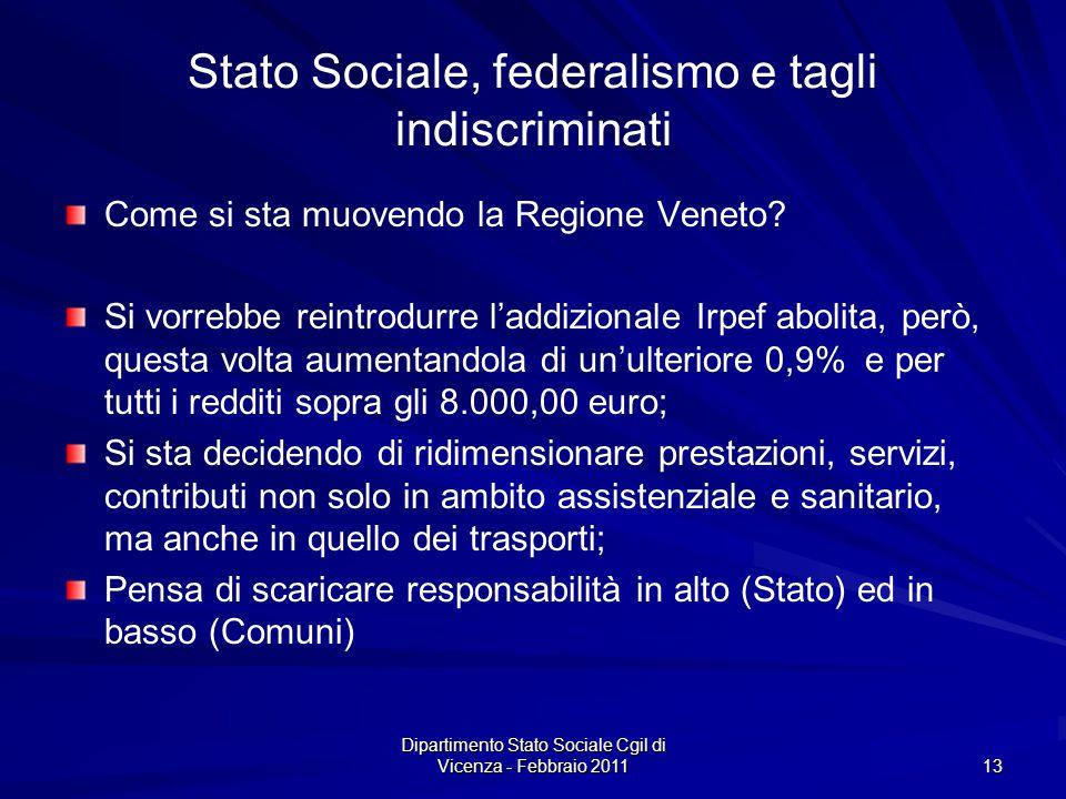 Dipartimento Stato Sociale Cgil di Vicenza - Febbraio 2011 13 Stato Sociale, federalismo e tagli indiscriminati Come si sta muovendo la Regione Veneto.