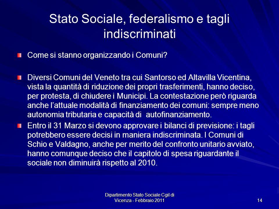 Dipartimento Stato Sociale Cgil di Vicenza - Febbraio 2011 14 Stato Sociale, federalismo e tagli indiscriminati Come si stanno organizzando i Comuni.