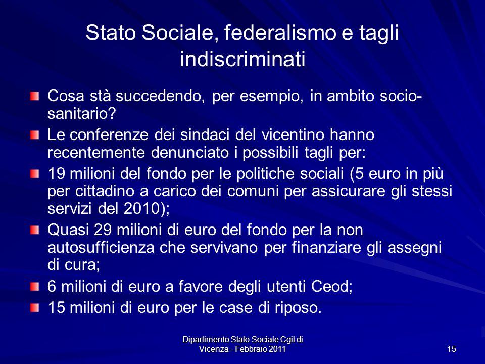Dipartimento Stato Sociale Cgil di Vicenza - Febbraio 2011 15 Stato Sociale, federalismo e tagli indiscriminati Cosa stà succedendo, per esempio, in ambito socio- sanitario.