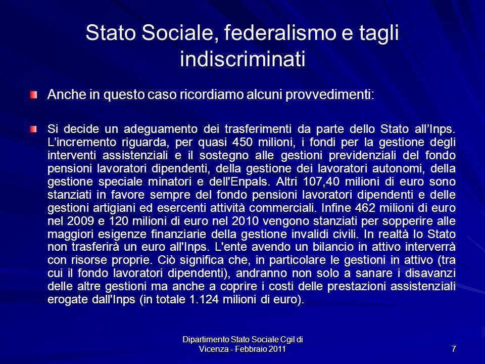 Dipartimento Stato Sociale Cgil di Vicenza - Febbraio 2011 7 Stato Sociale, federalismo e tagli indiscriminati Anche in questo caso ricordiamo alcuni provvedimenti: Si decide un adeguamento dei trasferimenti da parte dello Stato allInps.