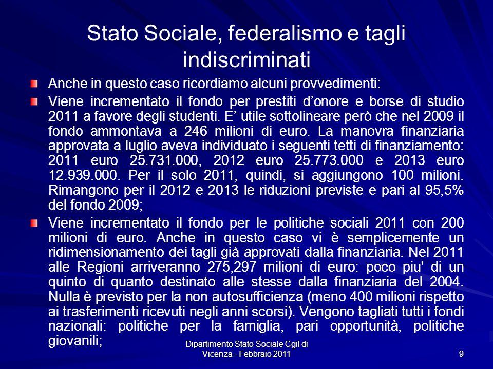 Dipartimento Stato Sociale Cgil di Vicenza - Febbraio 2011 9 Stato Sociale, federalismo e tagli indiscriminati Anche in questo caso ricordiamo alcuni provvedimenti: Viene incrementato il fondo per prestiti donore e borse di studio 2011 a favore degli studenti.