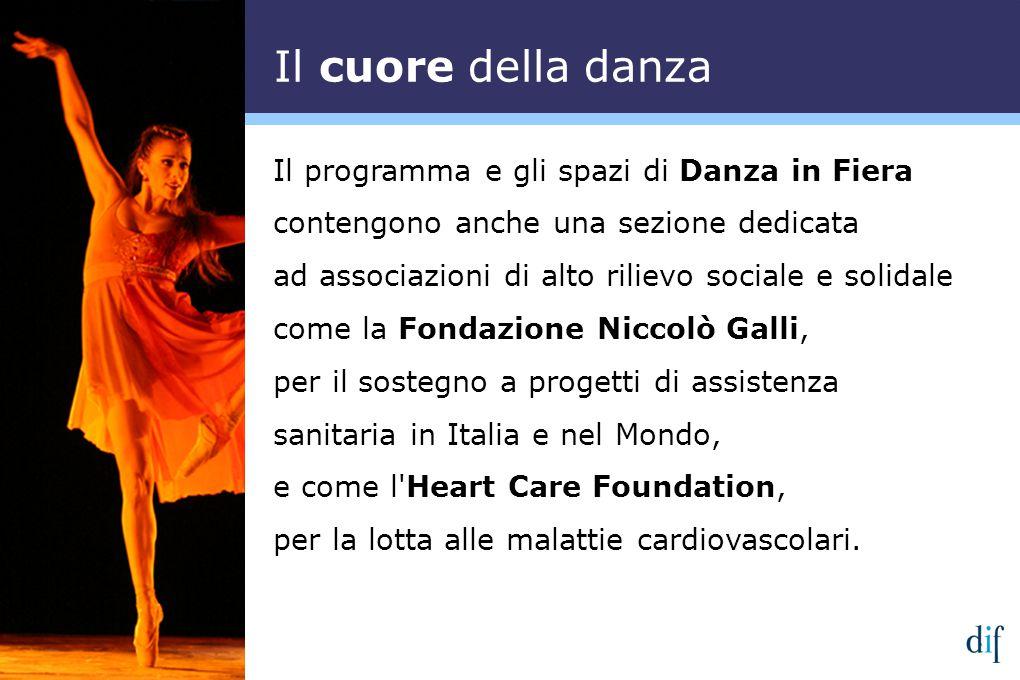 Il programma e gli spazi di Danza in Fiera contengono anche una sezione dedicata ad associazioni di alto rilievo sociale e solidale come la Fondazione