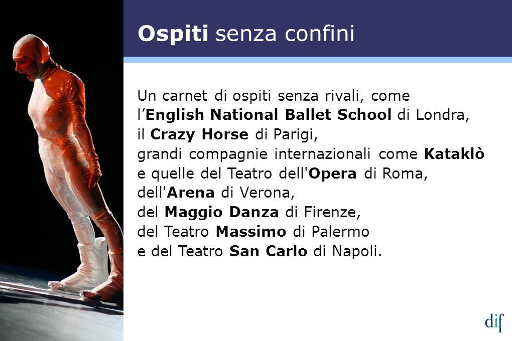 Un carnet di ospiti senza rivali, come lEnglish National Ballet School di Londra, il Crazy Horse di Parigi, grandi compagnie internazionali come Katak