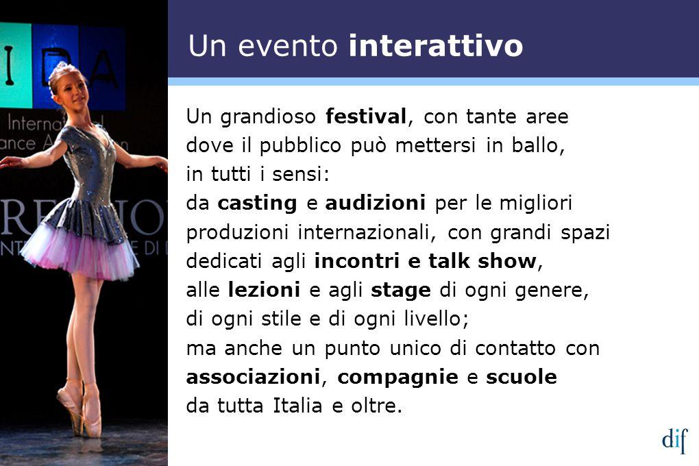 Un grandioso festival, con tante aree dove il pubblico può mettersi in ballo, in tutti i sensi: da casting e audizioni per le migliori produzioni inte