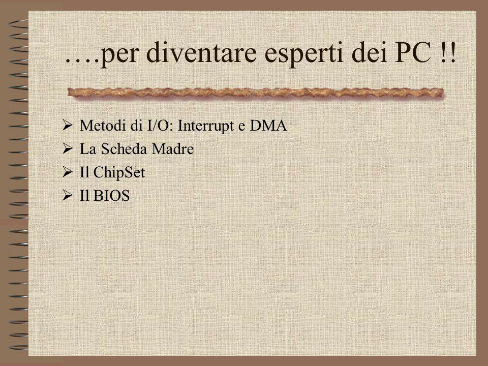 Prof.Ing.S.Cavalieri13 ….per diventare esperti dei PC !! Metodi di I/O: Interrupt e DMA La Scheda Madre Il ChipSet Il BIOS