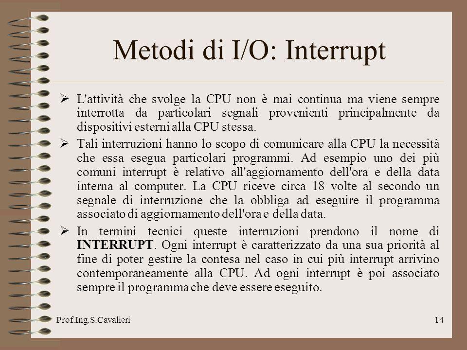 Prof.Ing.S.Cavalieri14 Metodi di I/O: Interrupt L'attività che svolge la CPU non è mai continua ma viene sempre interrotta da particolari segnali prov