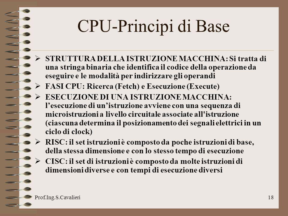 Prof.Ing.S.Cavalieri18 CPU-Principi di Base STRUTTURA DELLA ISTRUZIONE MACCHINA: Si tratta di una stringa binaria che identifica il codice della opera