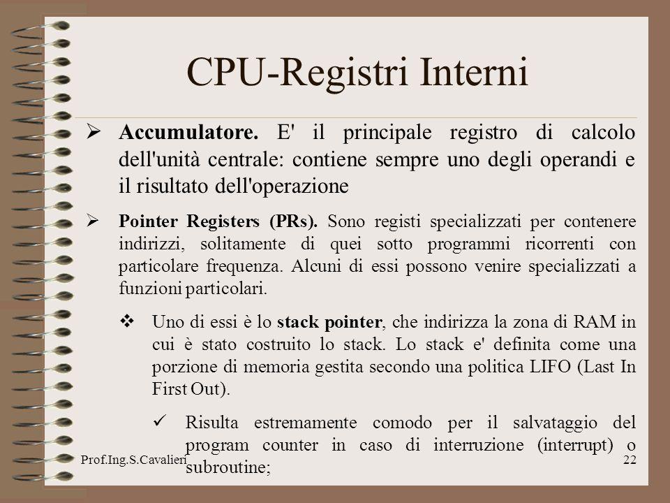 Prof.Ing.S.Cavalieri22 CPU-Registri Interni Accumulatore. E' il principale registro di calcolo dell'unità centrale: contiene sempre uno degli operandi