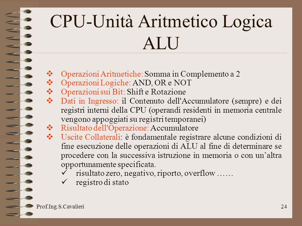 Prof.Ing.S.Cavalieri24 CPU-Unità Aritmetico Logica ALU Operazioni Aritmetiche: Somma in Complemento a 2 Operazioni Logiche: AND, OR e NOT Operazioni s