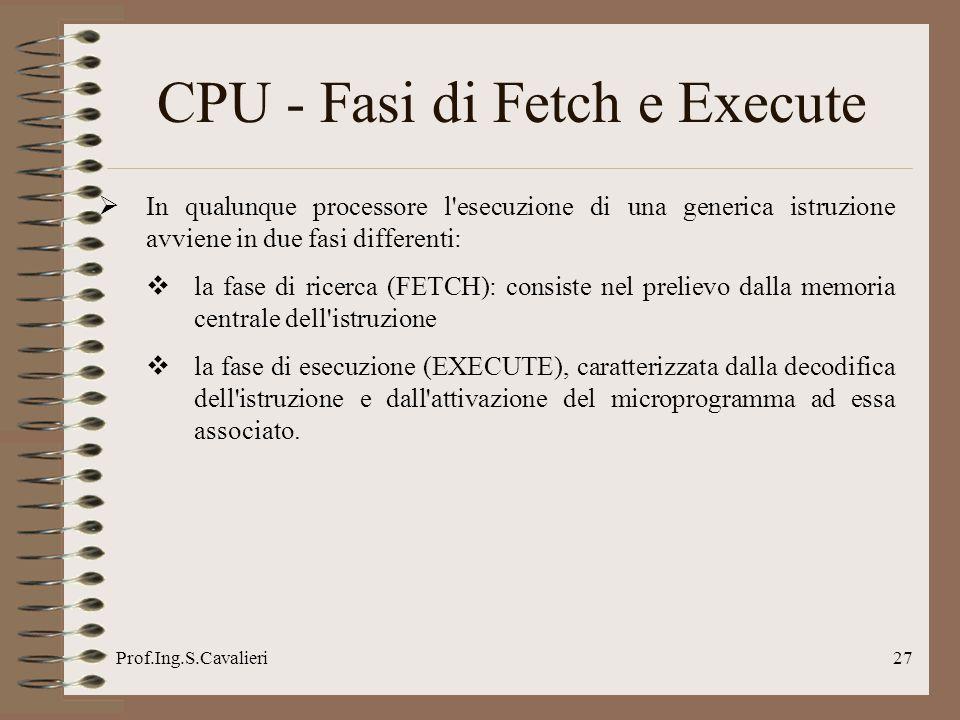 Prof.Ing.S.Cavalieri27 CPU - Fasi di Fetch e Execute In qualunque processore l'esecuzione di una generica istruzione avviene in due fasi differenti: l