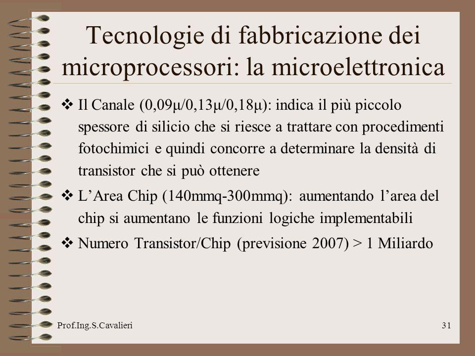 Prof.Ing.S.Cavalieri31 Tecnologie di fabbricazione dei microprocessori: la microelettronica Il Canale (0,09μ/0,13μ/0,18μ): indica il più piccolo spess