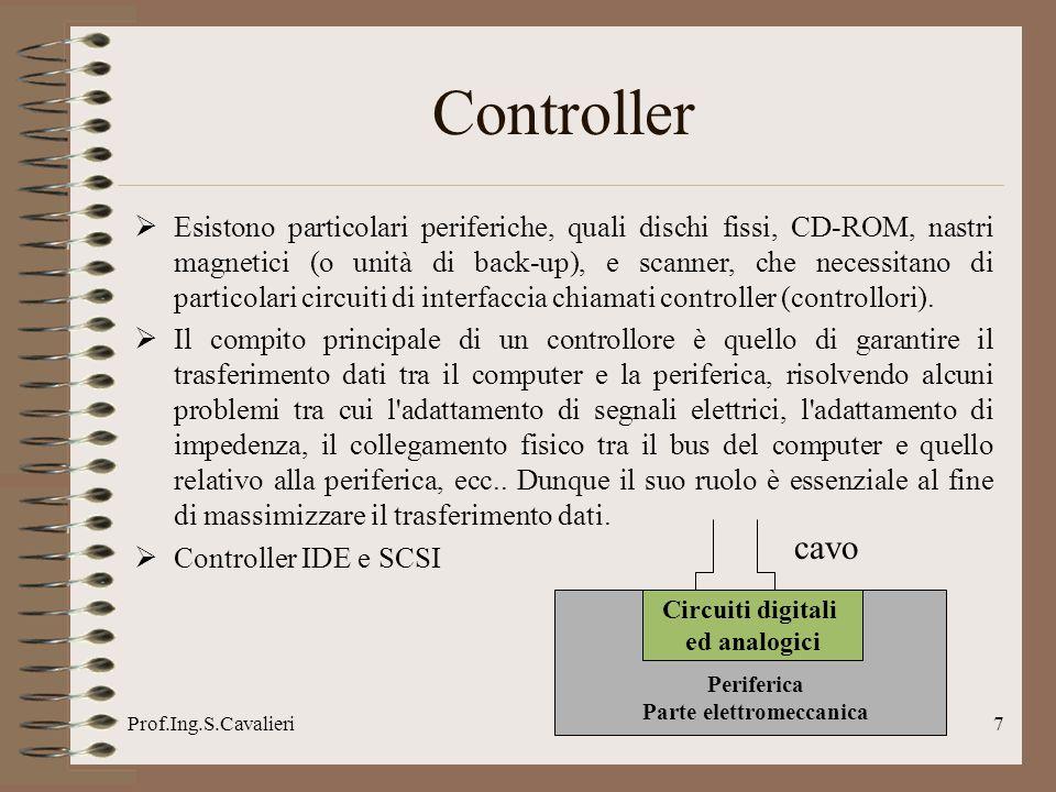 Prof.Ing.S.Cavalieri7 Controller Esistono particolari periferiche, quali dischi fissi, CD-ROM, nastri magnetici (o unità di back-up), e scanner, che n