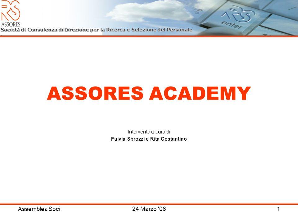 Assemblea Soci24 Marzo 061 ASSORES ACADEMY Intervento a cura di Fulvia Sbrozzi e Rita Costantino Società di Consulenza di Direzione per la Ricerca e Selezione del Personale