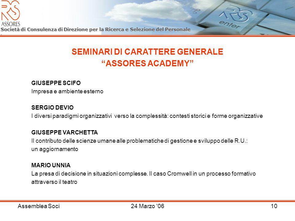 Assemblea Soci24 Marzo '0610 Società di Consulenza di Direzione per la Ricerca e Selezione del Personale SEMINARI DI CARATTERE GENERALE ASSORES ACADEM