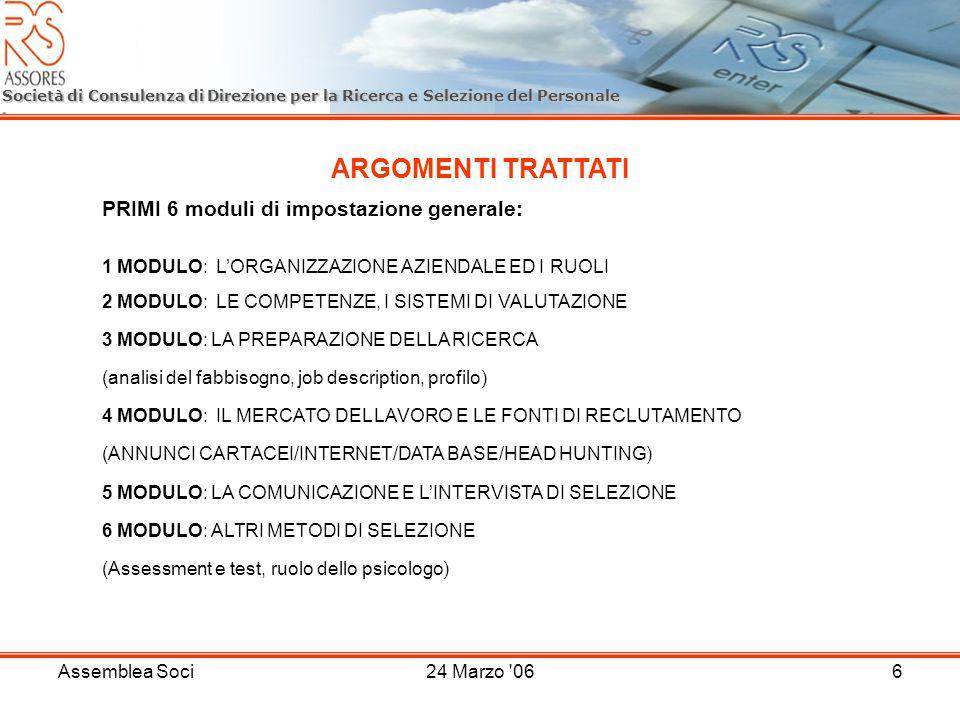 Assemblea Soci24 Marzo '066 Società di Consulenza di Direzione per la Ricerca e Selezione del Personale ARGOMENTI TRATTATI PRIMI 6 moduli di impostazi