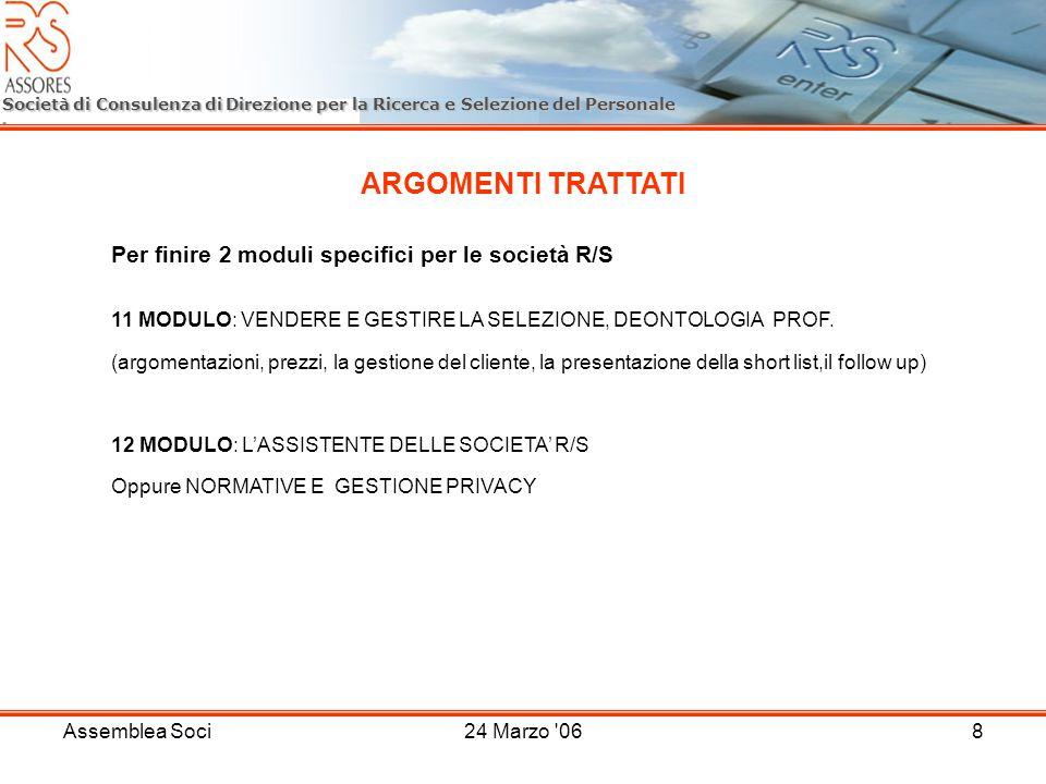 Assemblea Soci24 Marzo '068 Società di Consulenza di Direzione per la Ricerca e Selezione del Personale ARGOMENTI TRATTATI Per finire 2 moduli specifi