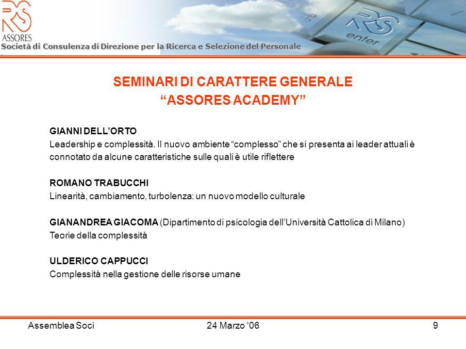 Assemblea Soci24 Marzo 069 Società di Consulenza di Direzione per la Ricerca e Selezione del Personale SEMINARI DI CARATTERE GENERALE ASSORES ACADEMY GIANNI DELLORTO Leadership e complessità.