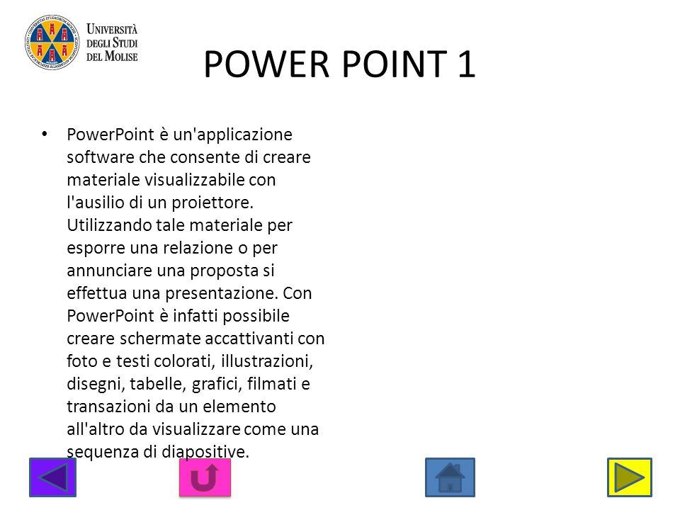 POWER POINT 1 PowerPoint è un'applicazione software che consente di creare materiale visualizzabile con l'ausilio di un proiettore. Utilizzando tale m
