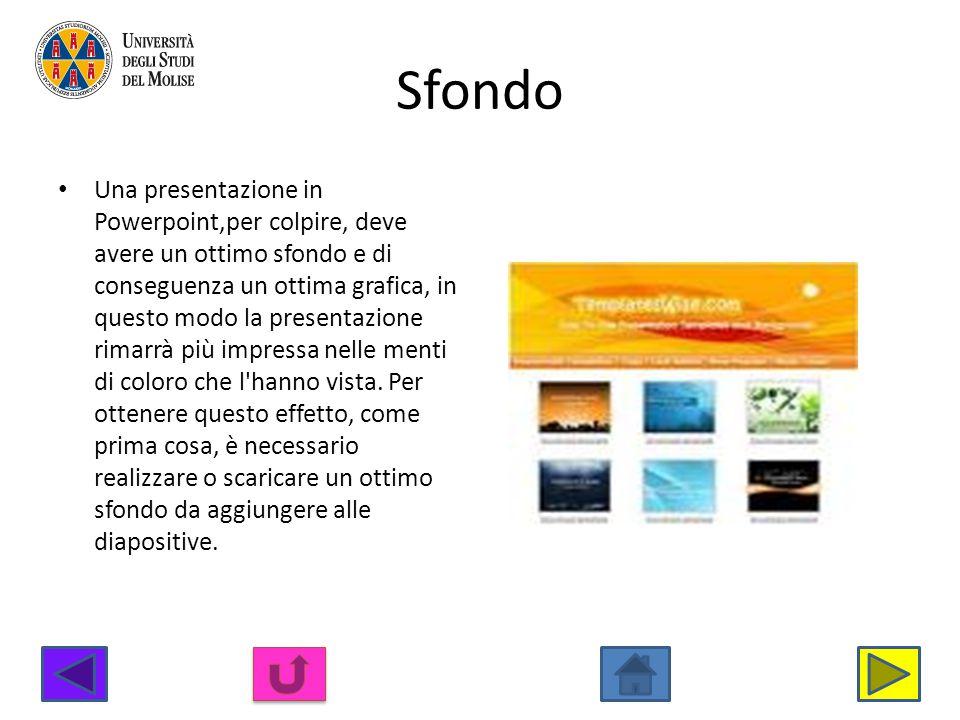 Sfondo Una presentazione in Powerpoint,per colpire, deve avere un ottimo sfondo e di conseguenza un ottima grafica, in questo modo la presentazione ri