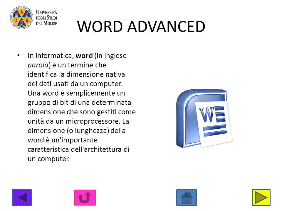 WORD ADVANCED In informatica, word (in inglese parola) è un termine che identifica la dimensione nativa dei dati usati da un computer. Una word è semp