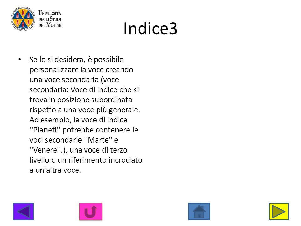 Indice3 Se lo si desidera, è possibile personalizzare la voce creando una voce secondaria (voce secondaria: Voce di indice che si trova in posizione s