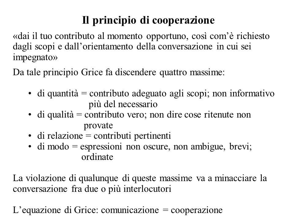 Il principio di cooperazione «dai il tuo contributo al momento opportuno, così comè richiesto dagli scopi e dallorientamento della conversazione in cu