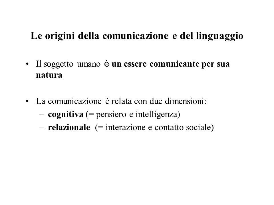 Le origini della comunicazione e del linguaggio Il soggetto umano è un essere comunicante per sua natura La comunicazione è relata con due dimensioni: