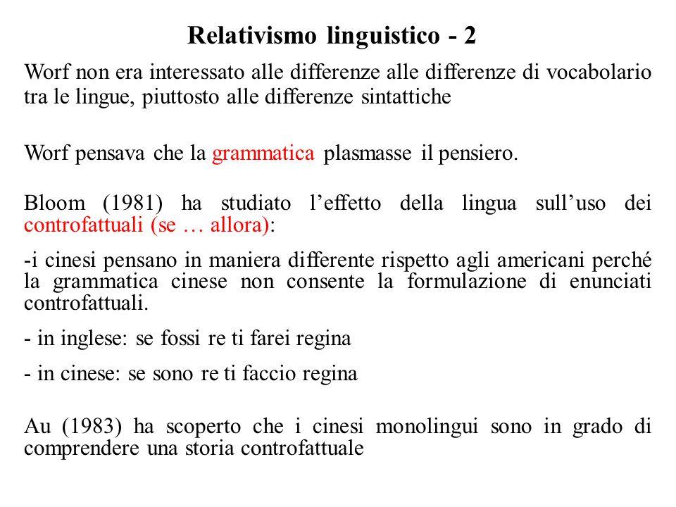 Relativismo linguistico - 2 Worf non era interessato alle differenze alle differenze di vocabolario tra le lingue, piuttosto alle differenze sintattic