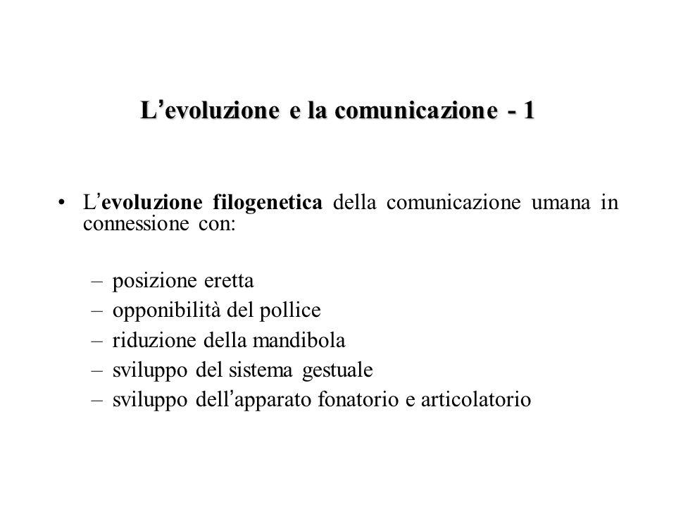 L evoluzione e la comunicazione – 2 Lo sviluppo ontogenetico della comunicazione umana in termini di: –processi comunicativi preverbali nell infante –routine quotidiane –comparsa dell intenzionalità e dell azione pianificata –interdipendenza intrinseca fra pensiero e linguaggio