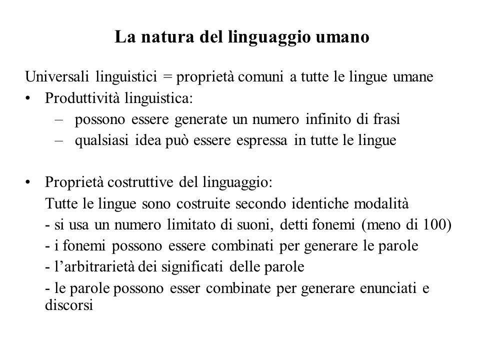 La natura del linguaggio umano Universali linguistici = proprietà comuni a tutte le lingue umane Produttività linguistica: –possono essere generate un