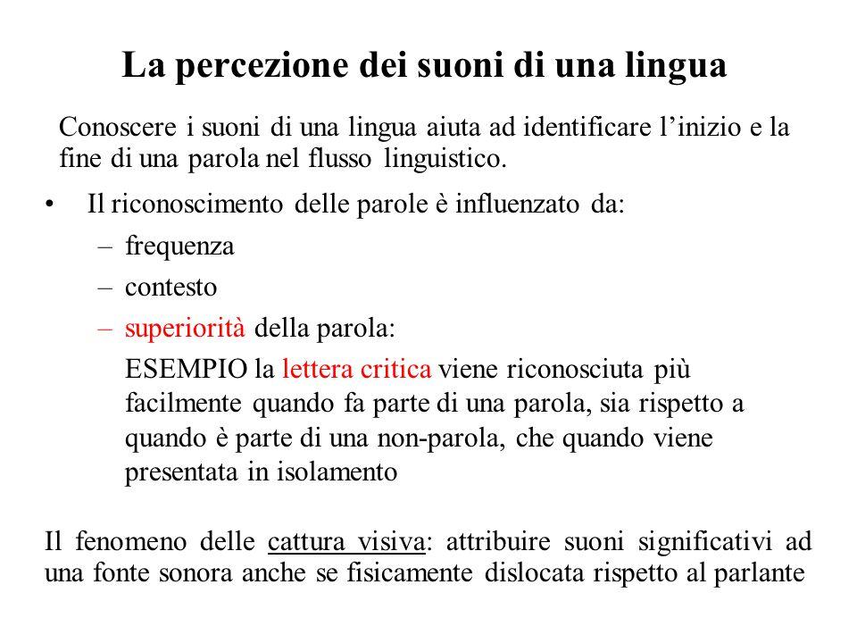 La percezione dei suoni di una lingua Il riconoscimento delle parole è influenzato da: –frequenza –contesto –superiorità della parola: ESEMPIO la lett