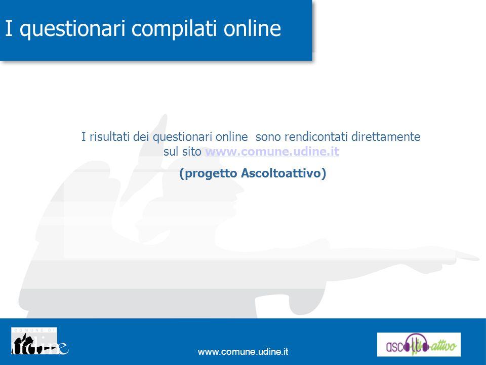 www.comune.udine.it I questionari compilati online I risultati dei questionari online sono rendicontati direttamente sul sito www.comune.udine.itwww.comune.udine.it (progetto Ascoltoattivo)
