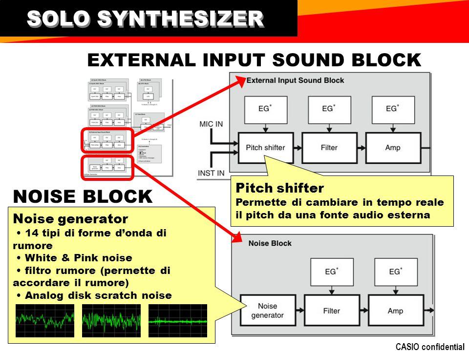 CASIO confidential EXTERNAL INPUT SOUND BLOCK NOISE BLOCK Noise generator 14 tipi di forme donda di rumore White & Pink noise filtro rumore (permette di accordare il rumore) Analog disk scratch noise Pitch shifter Permette di cambiare in tempo reale il pitch da una fonte audio esterna SOLO SYNTHESIZER