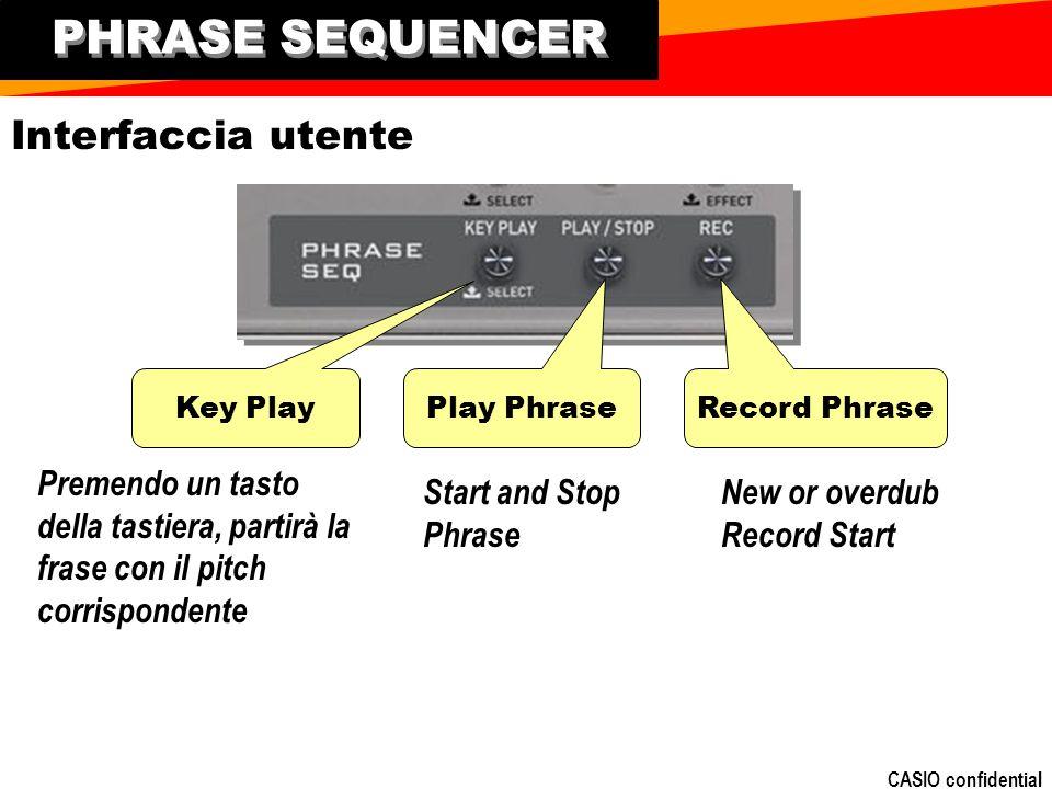 CASIO confidential PHRASE SEQUENCER Play Phrase Record Phrase Key Play Interfaccia utente Premendo un tasto della tastiera, partirà la frase con il pitch corrispondente Start and Stop Phrase New or overdub Record Start