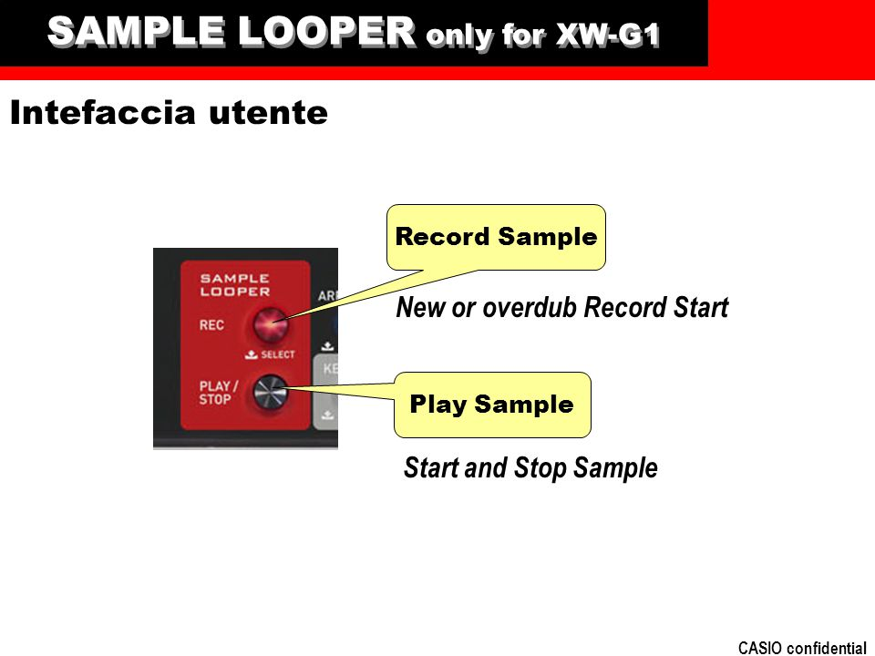 CASIO confidential SAMPLE LOOPER only for XW-G1 Play Sample Record Sample Intefaccia utente Start and Stop Sample New or overdub Record Start