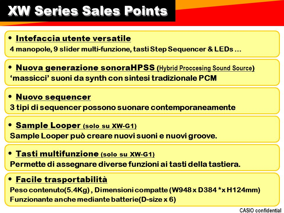 CASIO confidential XW Series Sales Points Intefaccia utente versatile 4 manopole, 9 slider multi-funzione, tasti Step Sequencer & LEDs … Nuova generaz