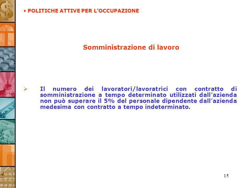 15 Somministrazione di lavoro Il numero dei lavoratori/lavoratrici con contratto di somministrazione a tempo determinato utilizzati dallazienda non pu