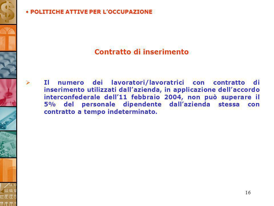 16 Contratto di inserimento Il numero dei lavoratori/lavoratrici con contratto di inserimento utilizzati dallazienda, in applicazione dellaccordo inte
