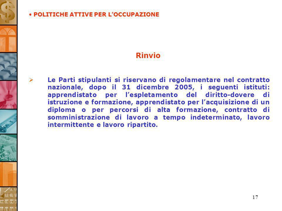 17 Rinvio Le Parti stipulanti si riservano di regolamentare nel contratto nazionale, dopo il 31 dicembre 2005, i seguenti istituti: apprendistato per