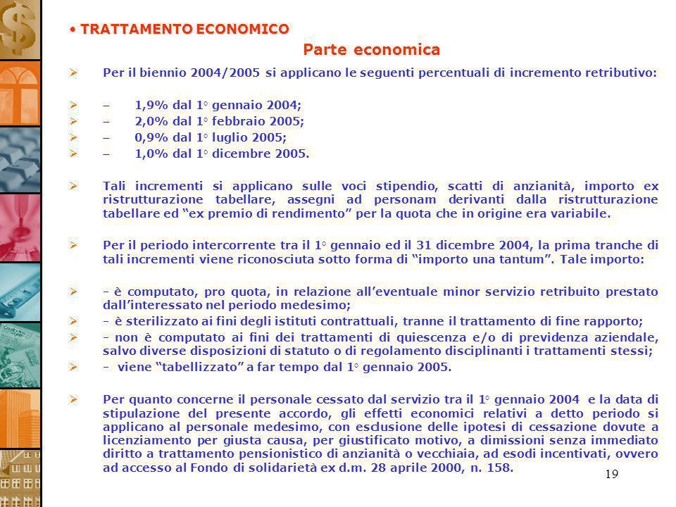 19 Parte economica Per il biennio 2004/2005 si applicano le seguenti percentuali di incremento retributivo: 1,9% dal 1° gennaio 2004; 2,0% dal 1° febb