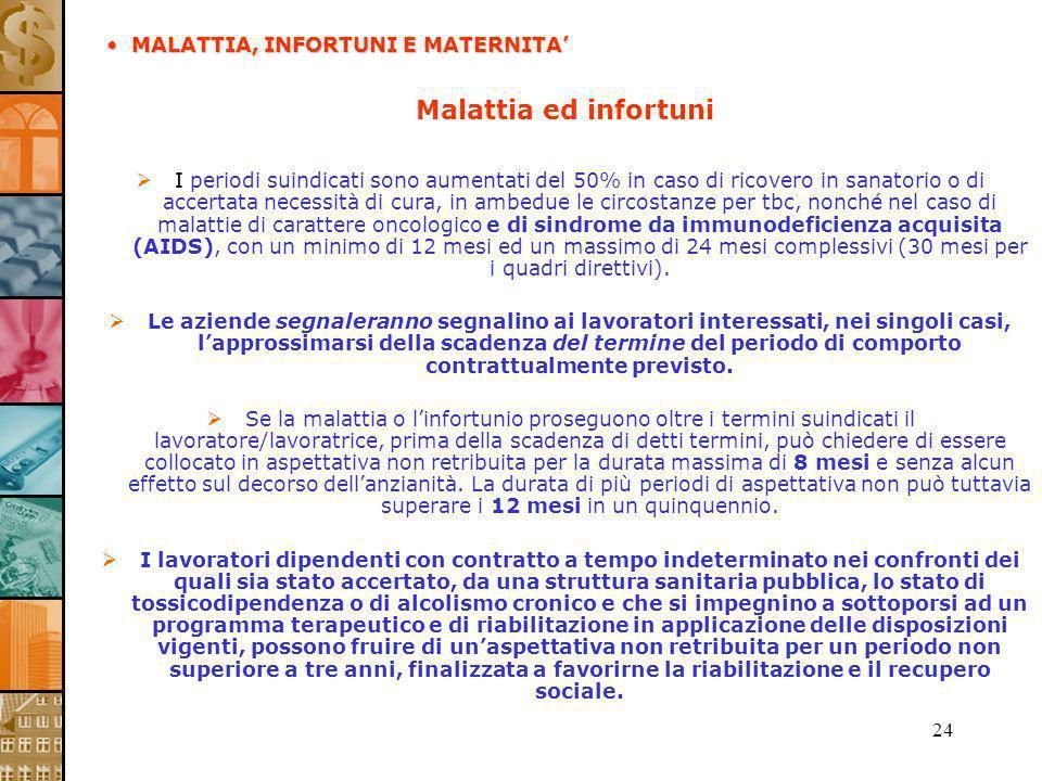 24 Malattia ed infortuni I periodi suindicati sono aumentati del 50% in caso di ricovero in sanatorio o di accertata necessità di cura, in ambedue le